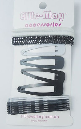 Bobby Pin & Clip Black & White Set