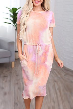 Pink Tie-dye Cotton T-shirt Dress