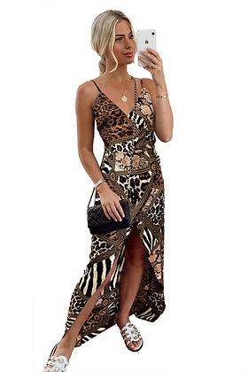 Animalistic Patchwork Print Dress