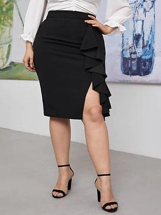 Split Front Ruffled Midi Skirt