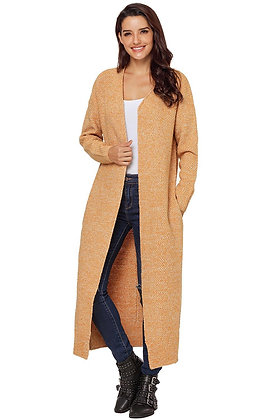 Wheat Open Front Long  Knit Cardigan