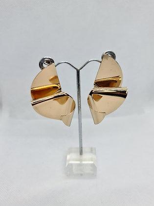 Gold Folded Ruffle Statement Earrings