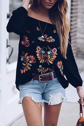 Black Embroidered Off Shoulder Long Sleeve Bohemian Floral Blouse