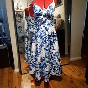 Blue Floral Tie Front Dress