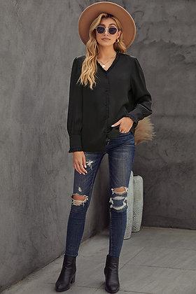 Black Frilled V Neckline Buttoned  Shirt