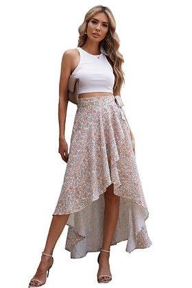 Beige Floral Wrap Skirt
