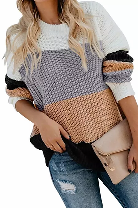 Peach & Grey Color Block Sweater