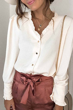 Cream Frilled V Neckline Buttoned  Shirt