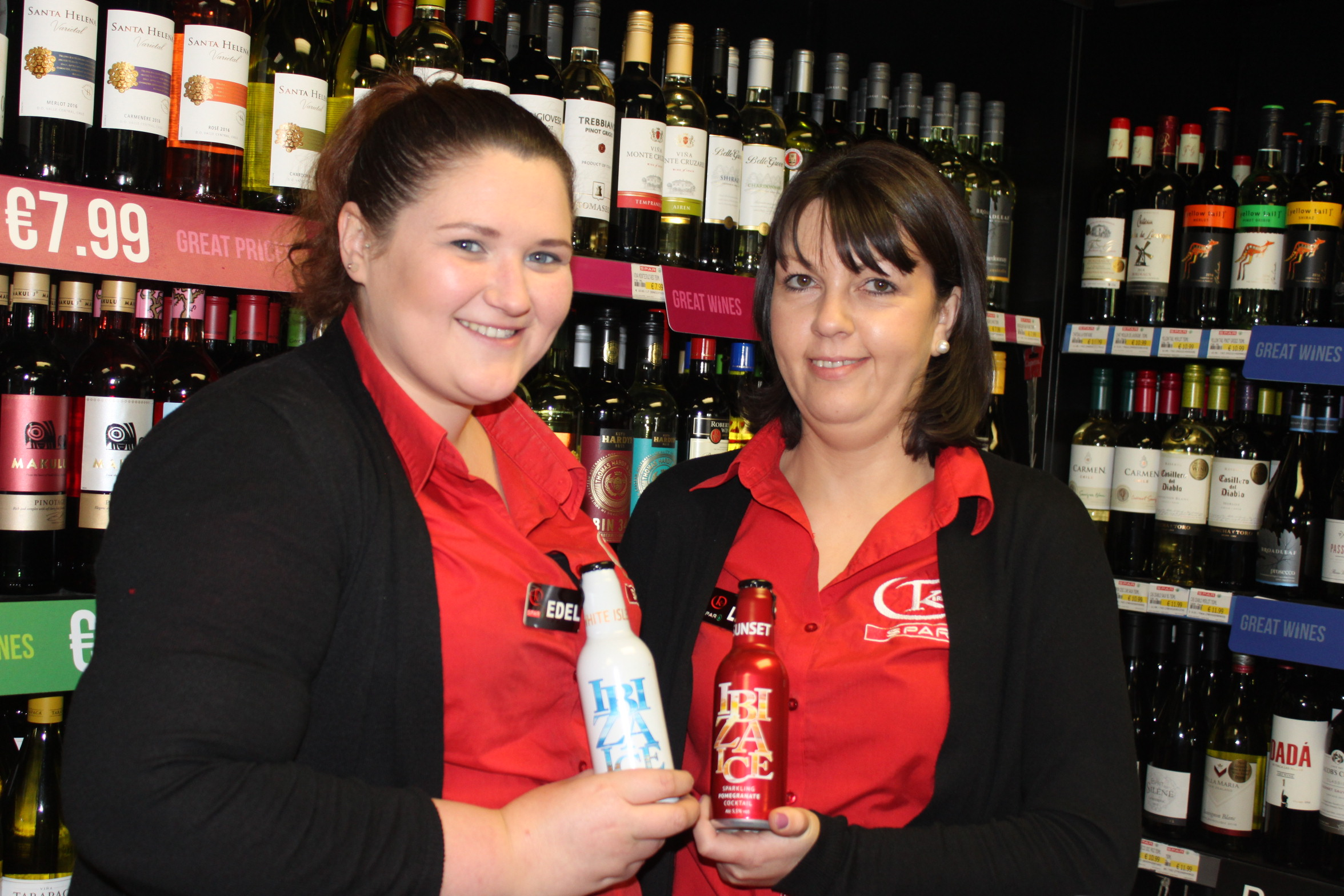 Laura and Edel at the off licence