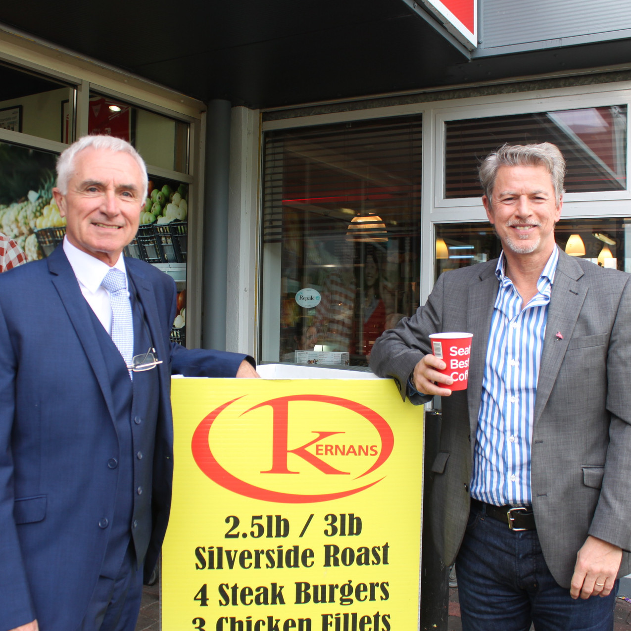 Kernans Newtown. Dr James McDaid and Anthony Kernan outside Kernans Newtowncunningham to Lauch the Coffee Morning