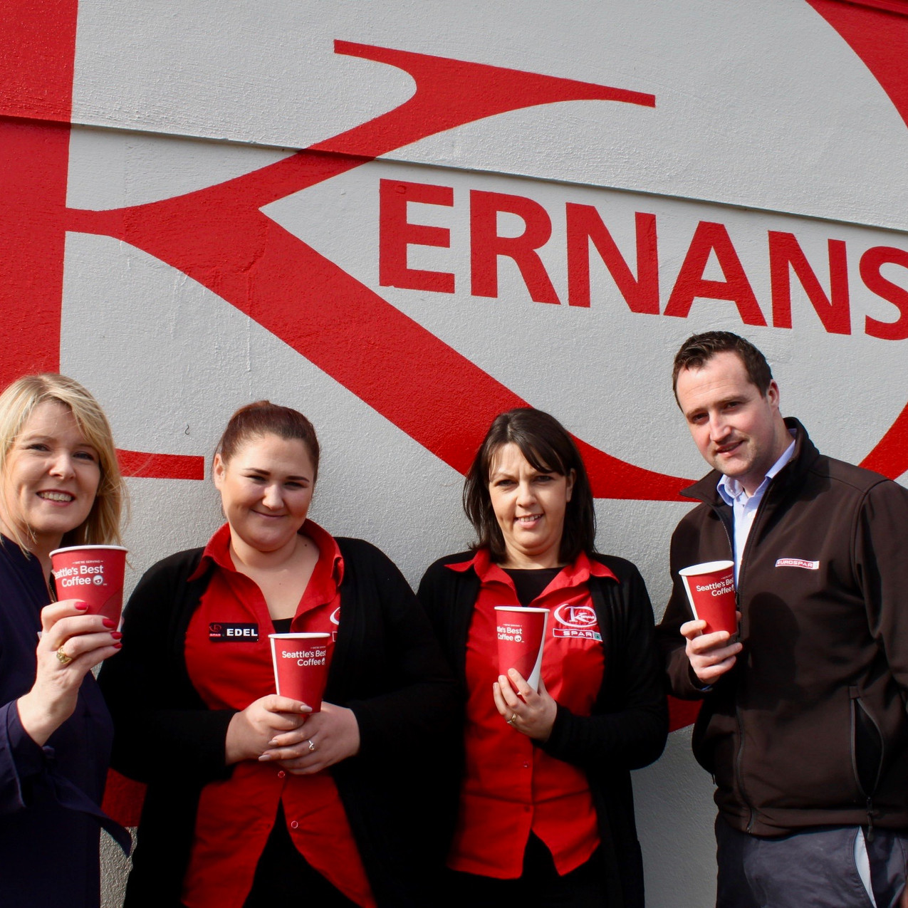 Kernans Tullygay. Caroline Sweeney from the Hospice pictured with Edel Frize, Laura mc Fadden and Conor Coyle from Kernans to launch the Coffee Morning