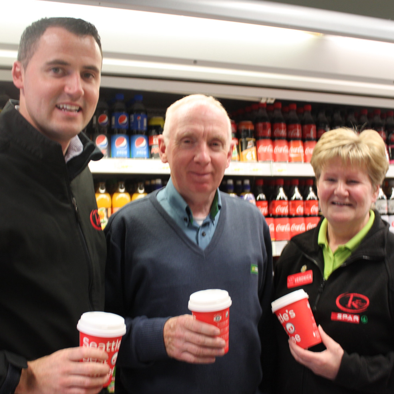 Kernans Ramelton. Manager Pauric Mc Garvery pictured with Veronica Logan and Postman James Boyce