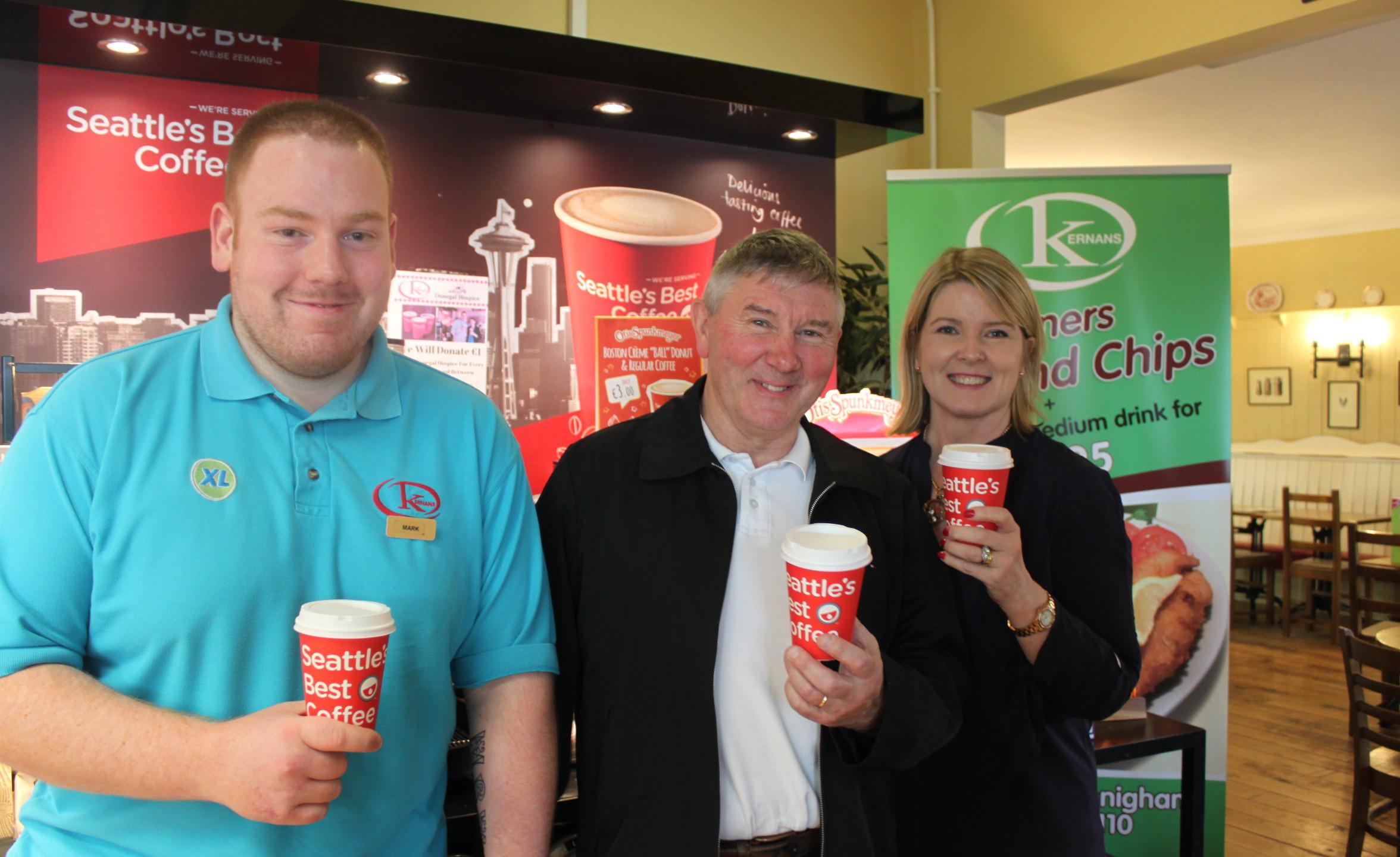 Kernans Drumkeen. Mark McCrabbe & Caroline Sweeney pictured with former Donegal star Martin McHugh