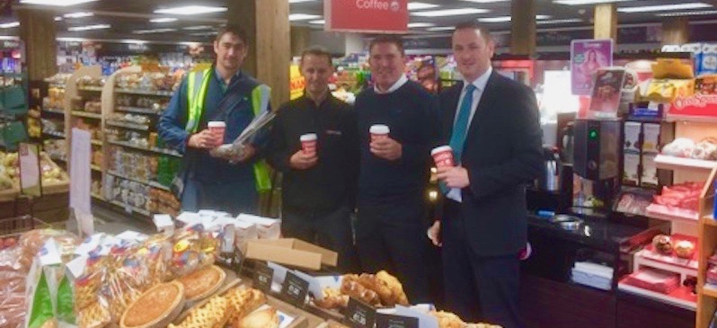 Kernans Ballyahannon. Manager David O Donnell, Head of Spar Donegal Ciaran Callaghan, BWG Manager Paul Gillespie and the Ballyshannon Postman stop for a coffee