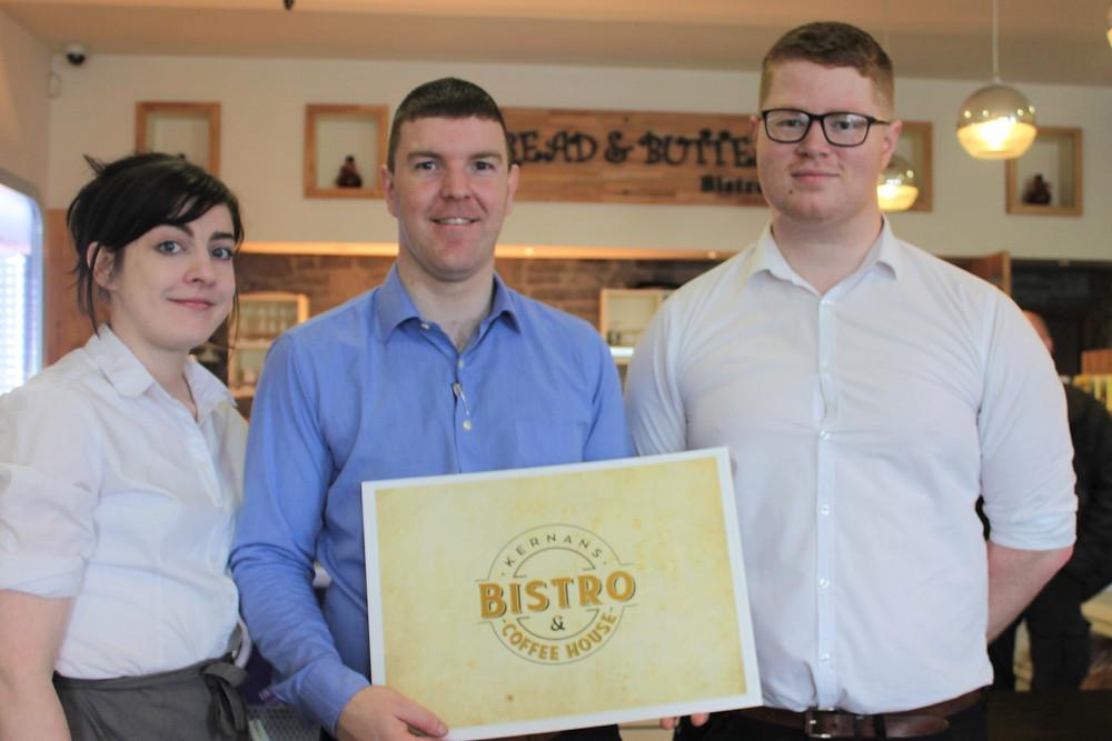 Catriona Mc Brearty, Paul Harkin and Ryan Stewart from Kernans Bistro & Coffee House