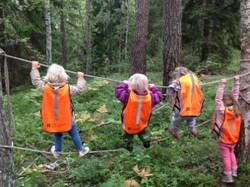 Balansträning i skogen