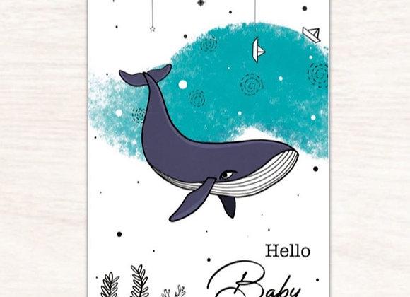 Carte postale baleine - Lily à la guimauve