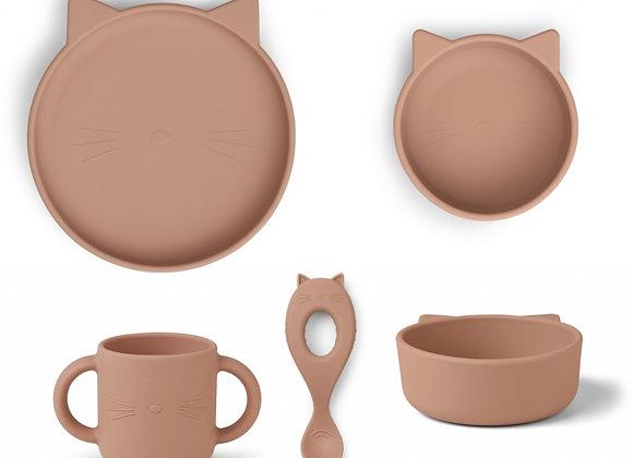 Set de repas en silicone Vivi chat rose - Liewood