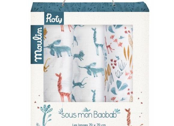 Set de 3 langes imprimés Sous mon baobab - Moulin Roty