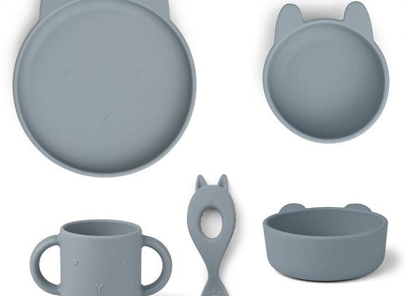 Set de repas en silicone Vivi lapin bleu - Liewood