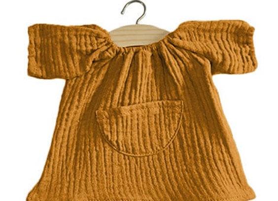 Robe Jeanne en coton double gaze Camel - Minikane