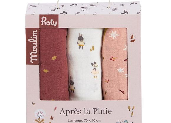 Set de 3 langes imprimés Après la pluie - Moulin Roty