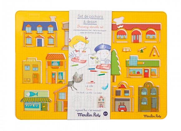 Set de pochoirs à dessin Ville Aujourd'hui c'est mercredi - Moulin Roty
