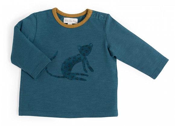 Camille Tee-Shirt bleu motif Guépard Sous mon baobab -Moulin Roty