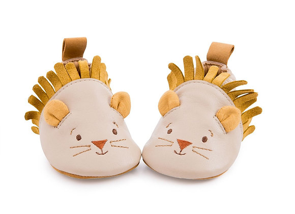 Chaussons cuir lion beige Sous mon baobab - Moulin Roty