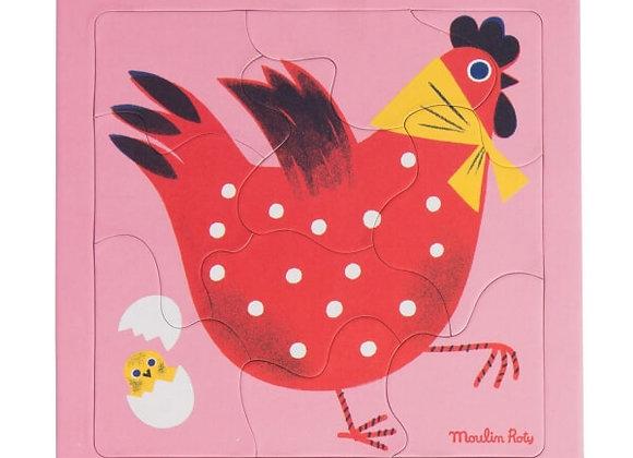 Puzzle poule Les Bambins 10 pièces - Moulin Roty