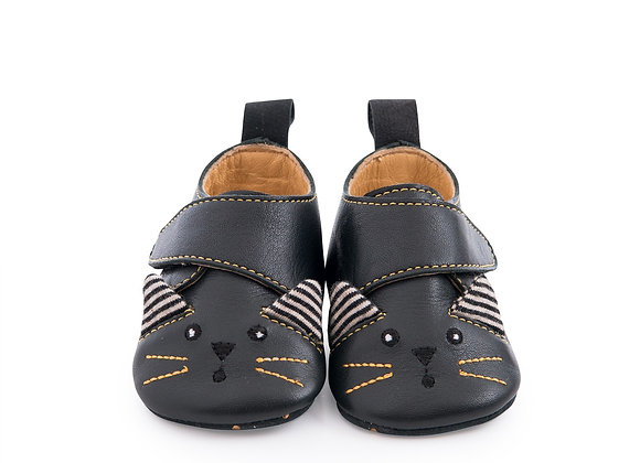 Chaussons cuir chat noir Les moustaches - Moulin Roty