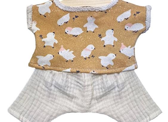 """Ensemble """"Maxou"""" en sweat Little chick et son pantalon en DG écru - Minikane"""