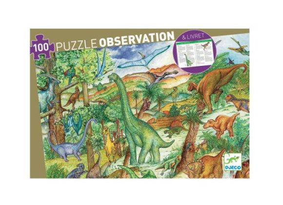 Puzzle d'observation Dinosaures et livret - Djeco