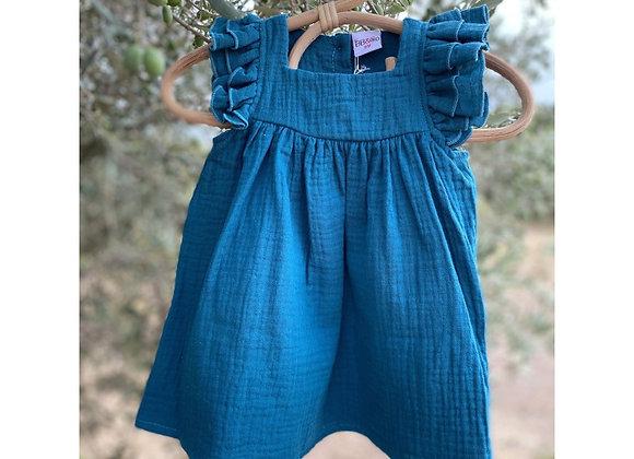 Robe en gaze de coton bleu paon - BB&Co