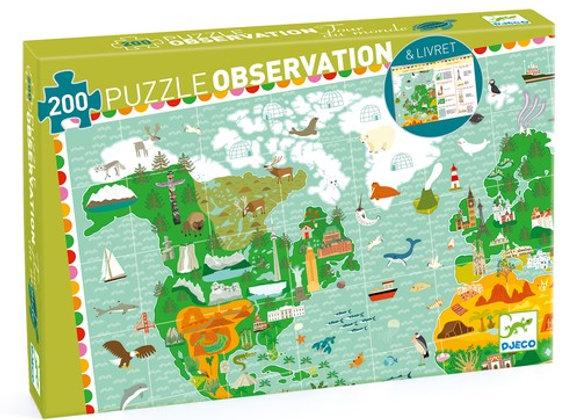 Puzzle Tour du monde 200pcs + livret - Djeco
