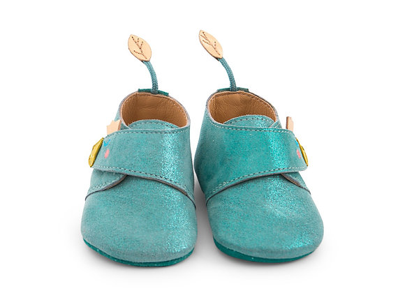 Chaussons cuir oie bleu Le voyage d'Olga - Moulin Roty