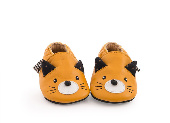 Chaussons cuir chat moutarde Les moustaches - Moulin Roty