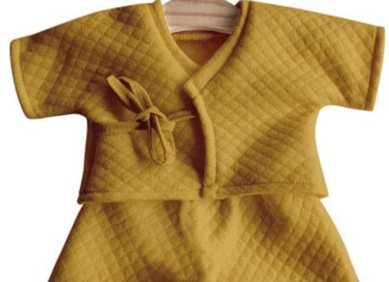 Kimono Niko coton surpiqué moutarde - Minikane