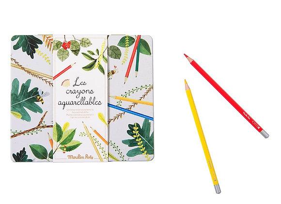 Boîte 24 crayons aquarellables Le jardin du Moulin - Moulin Roty