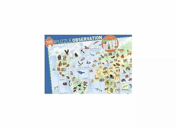 Puzzle d'observation animaux du monde 100 pièces - Djeco