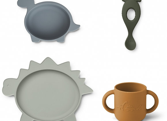 Set de repas en silicone Vivi dino blue multi mix - Liewood