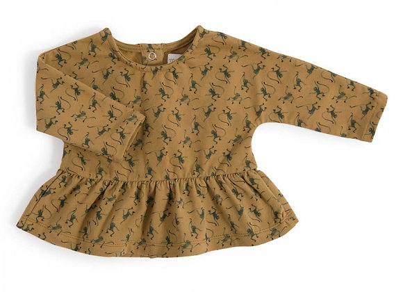 Carine Tee-Shirt ample bronze imprimé Singes Sous mon baobab - Moulin Roty