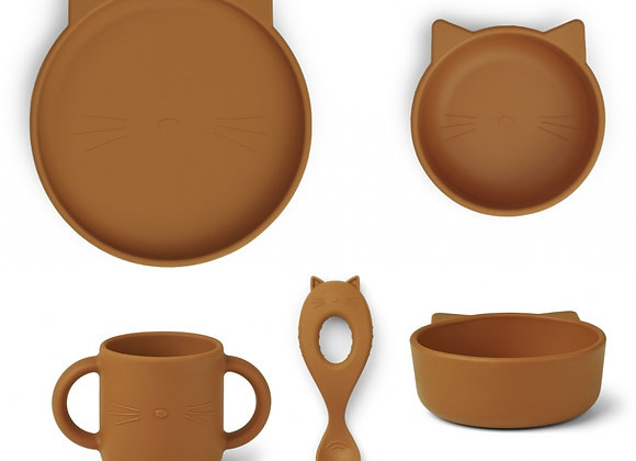 Set de repas en silicone Vivi chat moutarde - Liewood