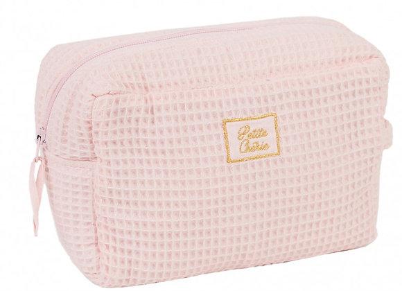 Trousse de toilette en nid d'abeille rose blush - BB&Co