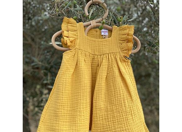 Robe en gaze de coton Moutarde - BB&Co