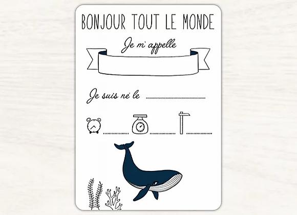 Carte de naissance baleine - Lily à la guimauve