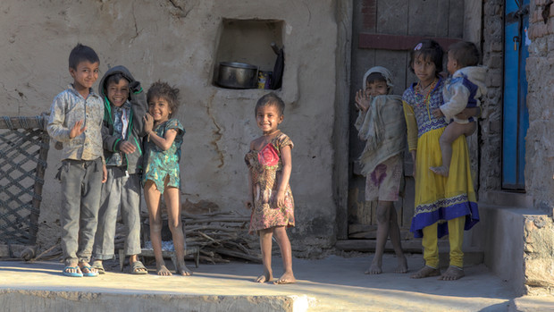 Happy village children
