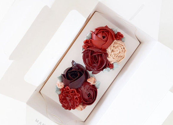 Duo Maroon Flower Cupcakes