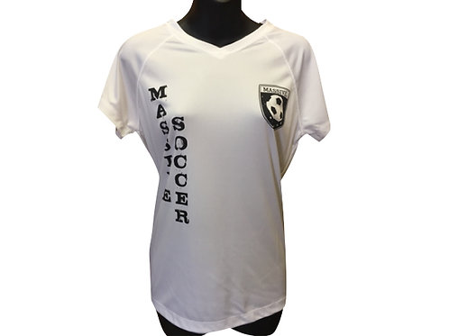 Women's White Polyester T-Shirt with Massive Logo and Vertical Writing