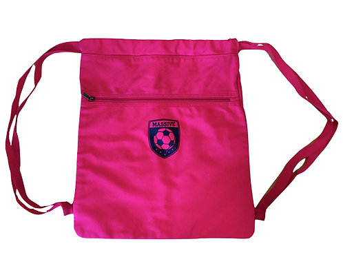 Red Cotton Drawstring Backpack with Massive Logo